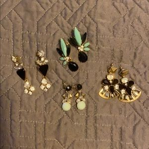 J Crew four pairs of statement earrings